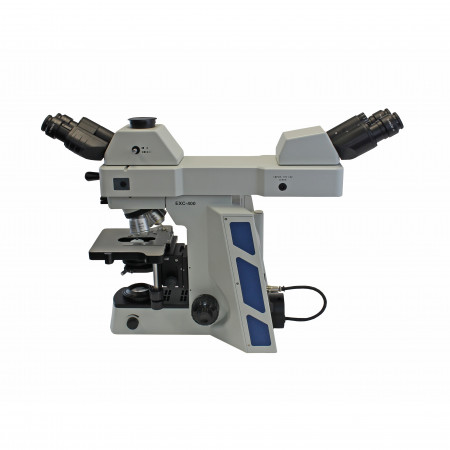 Front-to-back dual observer accessory, shown mounted on EXC-400 microscope