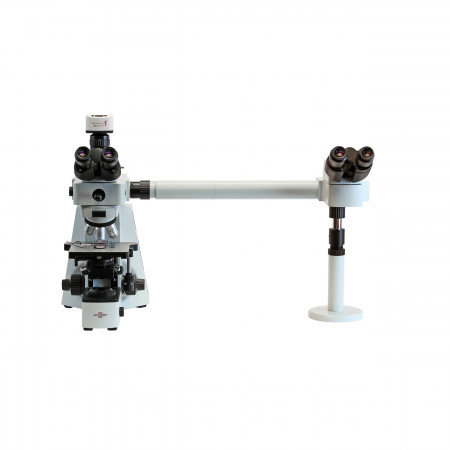 EXC-400 Dual Observer Accessory shown on EXC-400 microscope with digital camera.
