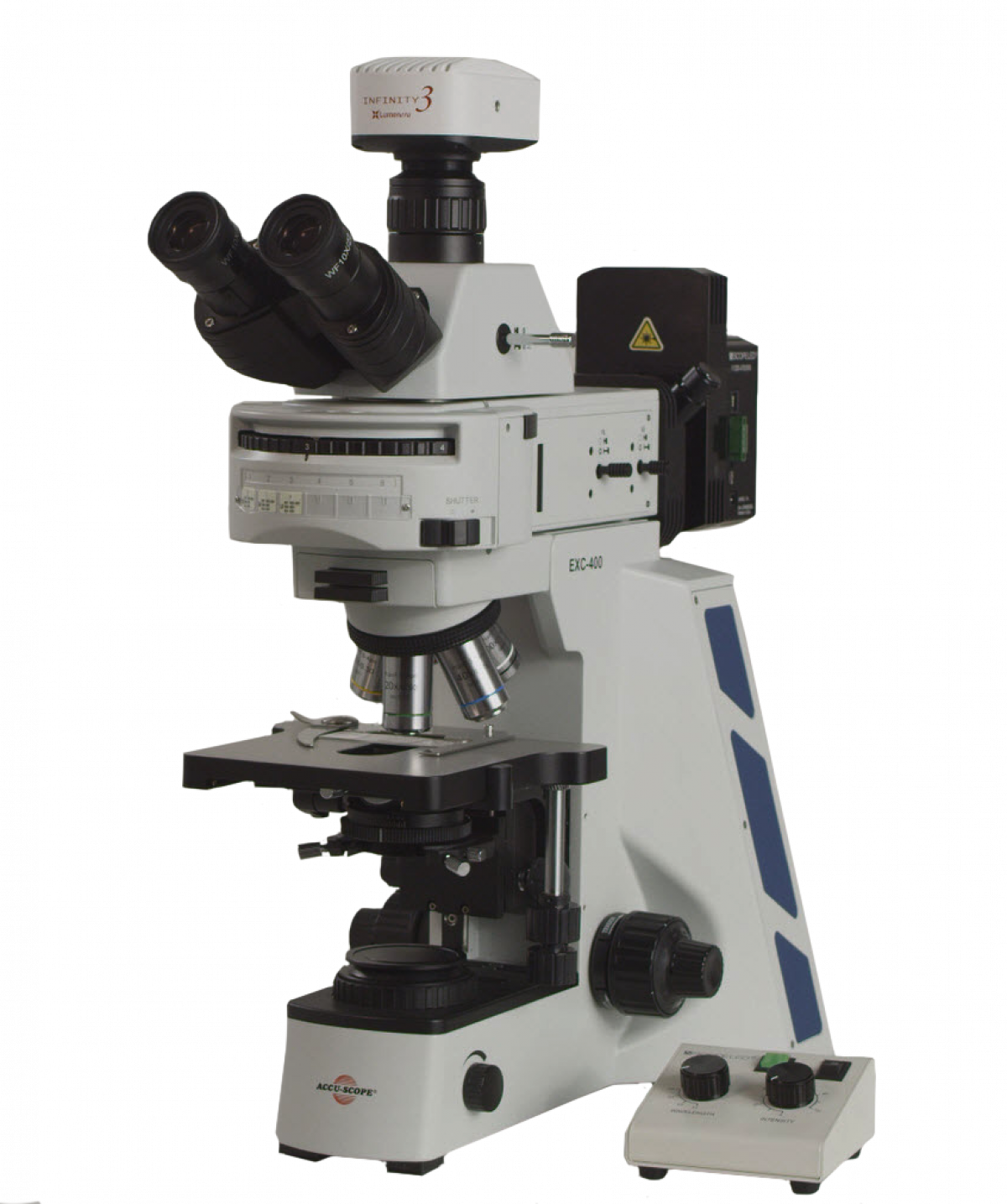 EXC-400 shown with optional fluorescence system, camera and camera adapter