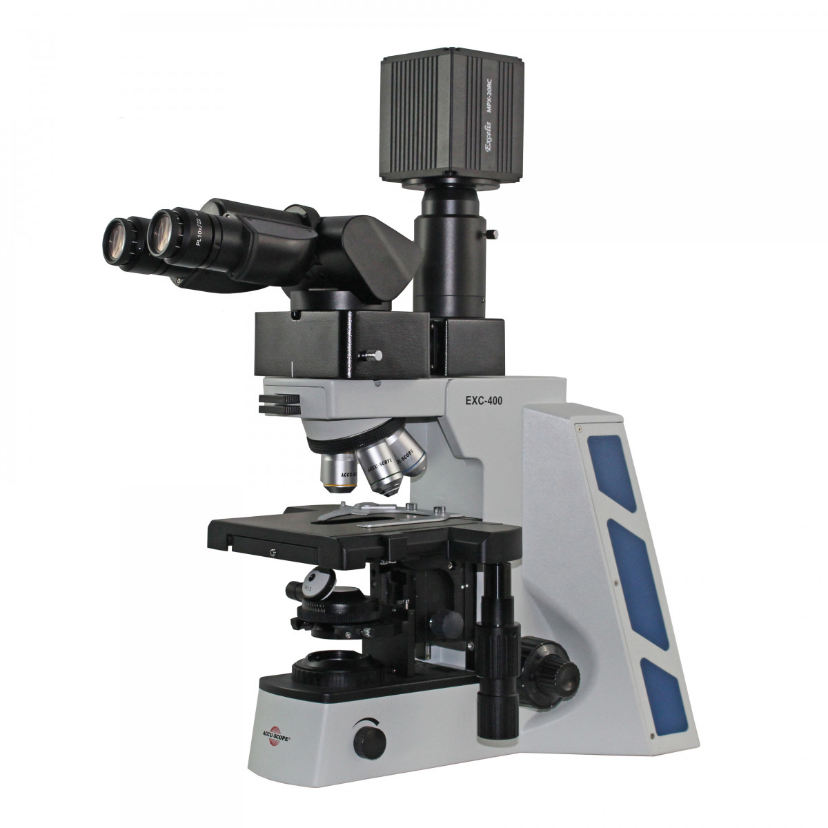 EXC-400 with ergo binocular viewing head, shown with optional camera port accessory (CAT # 400-2000-E) and camera