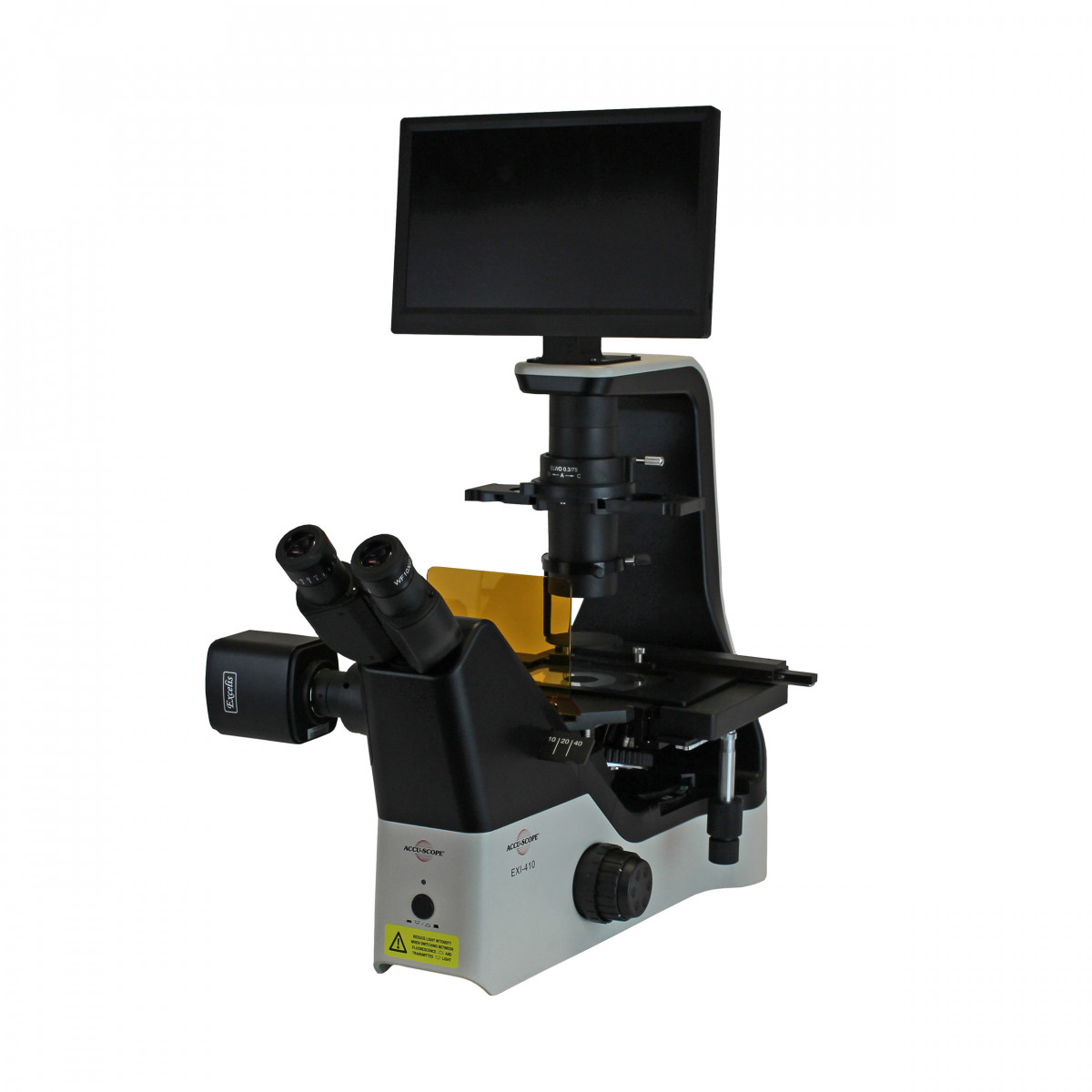 EXI-410-FL with optional objectives, phase contrast, emboss contrast, mechanical stage, Excelis HDS and monitor mount, camera adapter, and fluorescence light shield